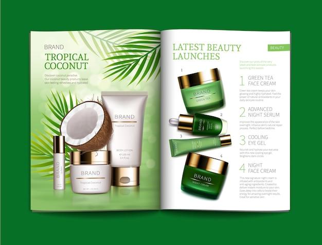 Plantilla para revista de cosmética brillante. vector gratuito