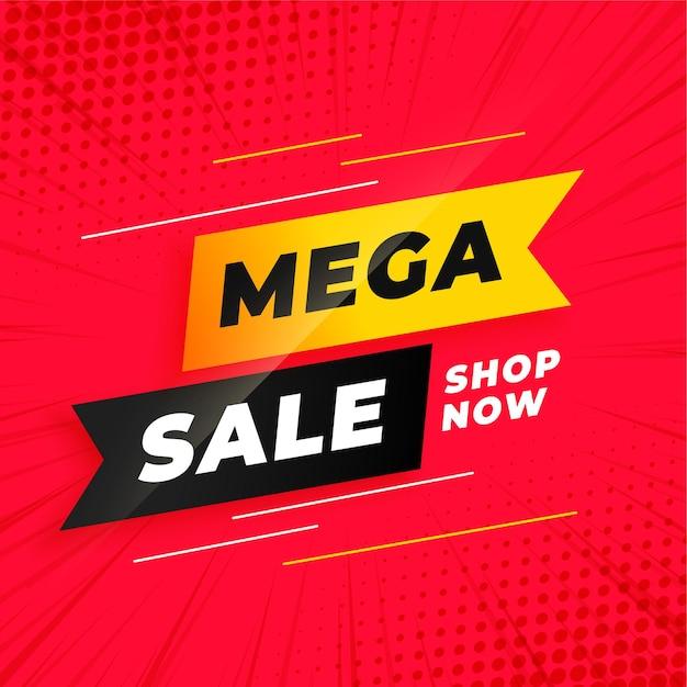 Plantilla roja de mega venta en estilo cinta vector gratuito