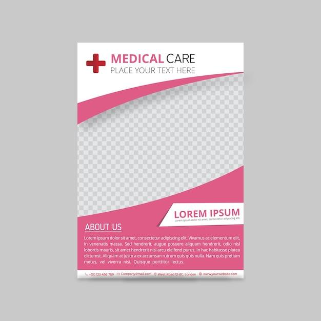 Plantilla rosa de folleto médico Vector Gratis