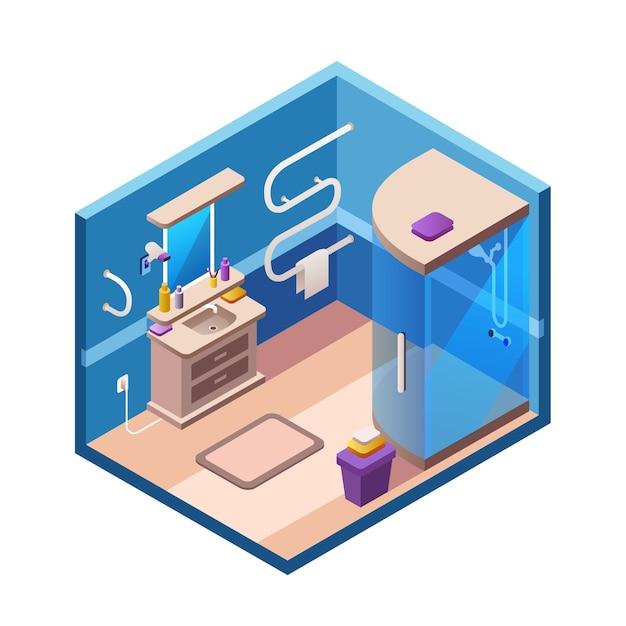 Plantilla de secci n interior de ba o isom trica hogar for Banos modernos para apartamentos