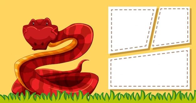 Plantilla de serpiente en nota vector gratuito