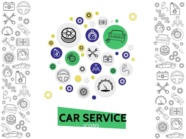 Plantilla de servicio y reparación de automóviles con llaves rueda de dirección de disco de freno engranajes de radiador de neumáticos de automóvil vector gratuito