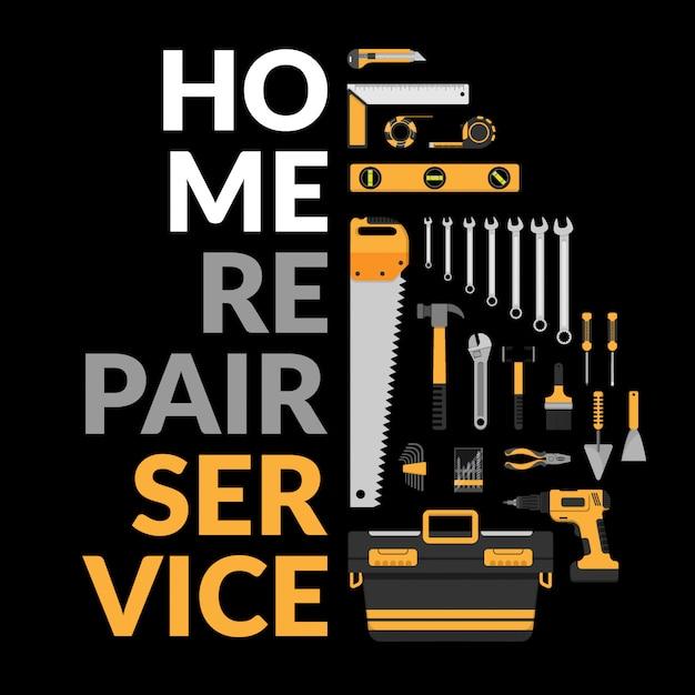 Plantilla de servicio de reparación de viviendas. Vector Premium
