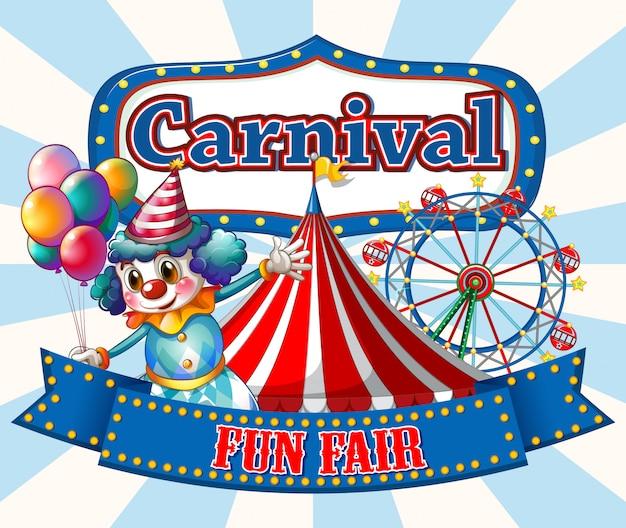 Plantilla de signo de carnaval con payaso feliz y paseos en segundo plano. vector gratuito