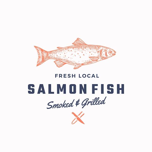 Plantilla de signo, símbolo o logotipo abstracto de salmón ahumado y asado. . vector gratuito