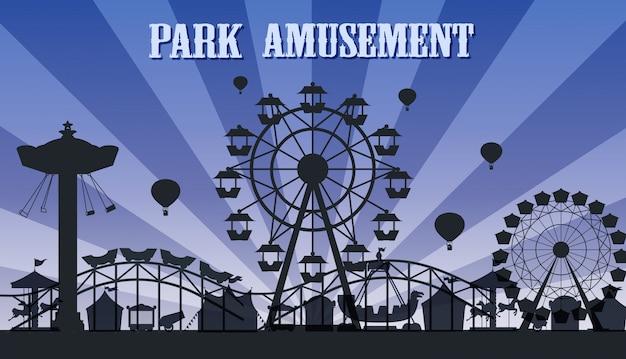 Una plantilla de silueta del parque de atracciones vector gratuito
