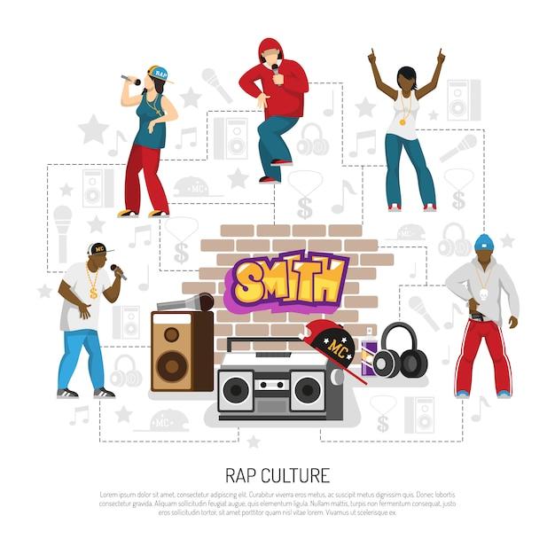 Plantilla de símbolos de cantantes de música rap vector gratuito