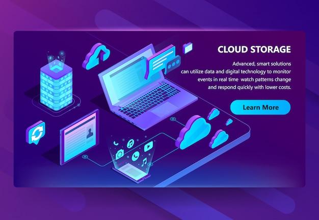 Plantilla de sitio para almacenamiento en la nube vector gratuito