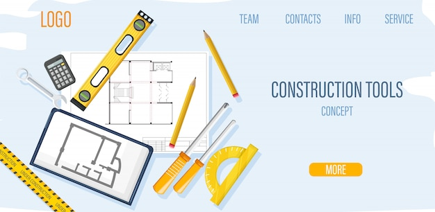 Plantilla de sitio de construcción con herramientas de arquitecto y plano vector gratuito