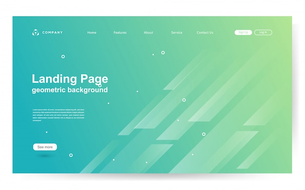 Plantilla de sitio web con fondo de forma geométrica Vector Premium