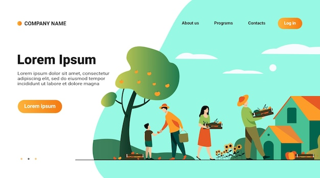 Plantilla de sitio web, página de destino con ilustración del concepto de agricultura y agricultura vector gratuito