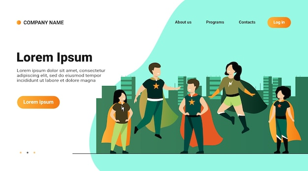 Plantilla de sitio web, página de destino con ilustración de niños jugando personajes de superhéroes vector gratuito
