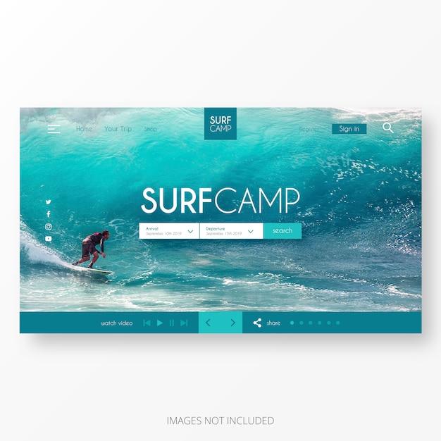 Plantilla surfing landing page vector gratuito