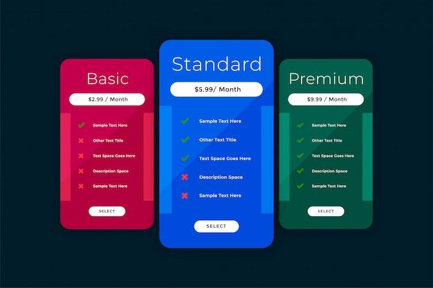 Plantilla de tabla de comparación de tabla de precios del sitio web vector gratuito