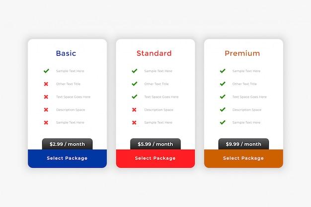 Plantilla de tabla de planes y precios comerciales limpios vector gratuito