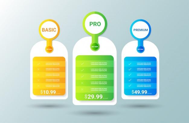 Plantilla de tabla de precios moderna Vector Premium