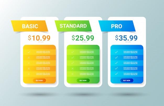 Plantilla de tabla de precios Vector Premium