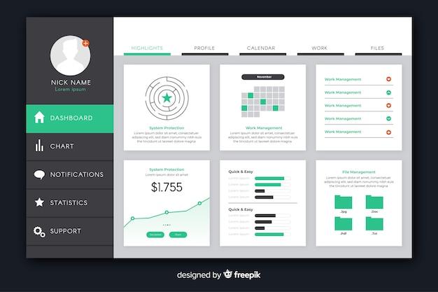 Plantilla de tablero de colección de elementos de infografía vector gratuito