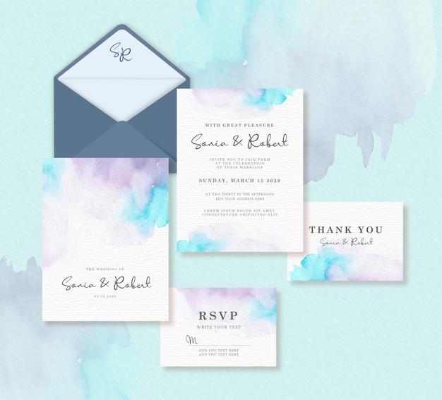 Plantilla de tarjeta de boda con acuarela splash Vector Premium