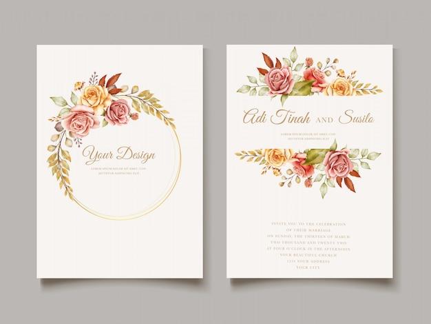 Plantilla de tarjeta de boda dibujada a mano vector gratuito