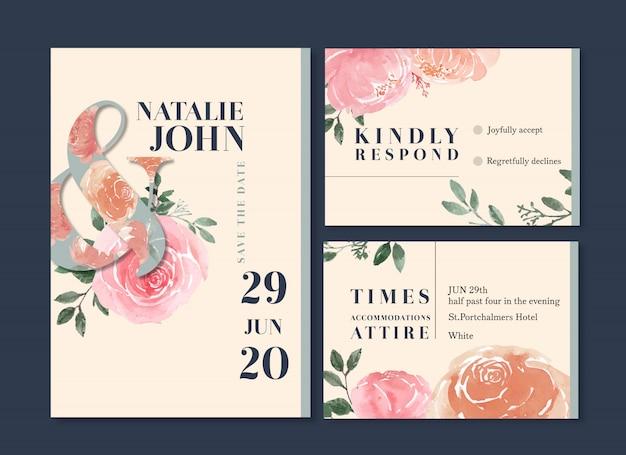 Plantilla de tarjeta de boda floral acuarela vector gratuito
