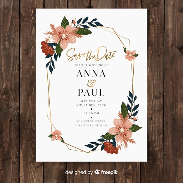 Plantilla de tarjeta de boda floral en diseño plano vector gratuito