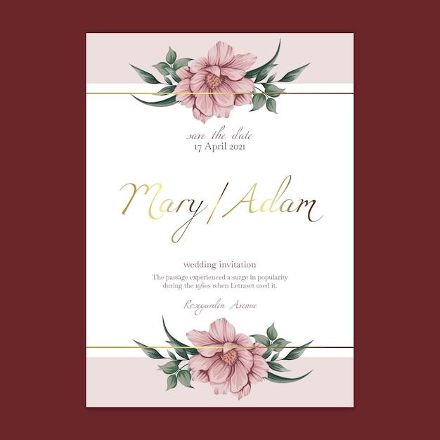 Plantilla de tarjeta de boda floral Vector Premium