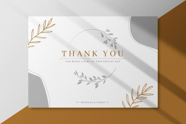 Plantilla de tarjeta de boda gracias vector gratuito