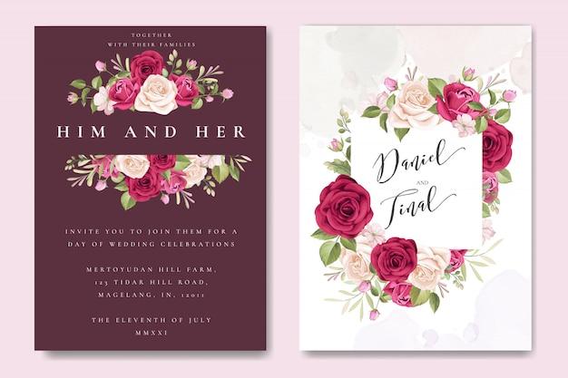 Plantilla de tarjeta de boda hermosa con coloridas rosas granate Vector Premium