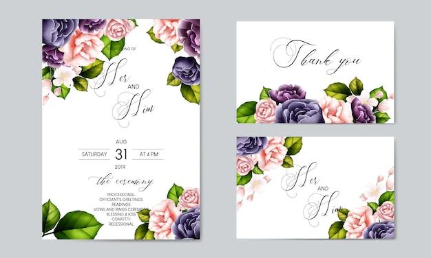 Plantilla de tarjeta de boda hermosa flor Vector Premium