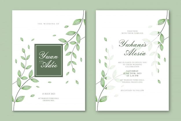 Plantilla de tarjeta de boda con hermosas hojas Vector Premium