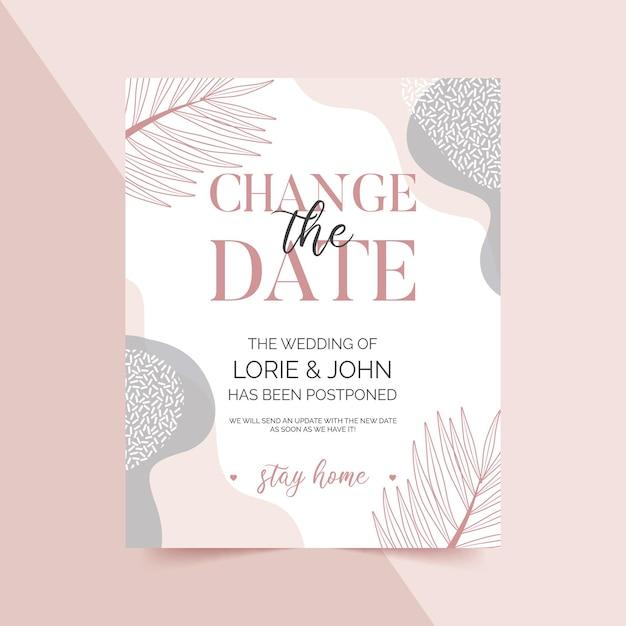 Plantilla de tarjeta de boda pospuesta tipográfica con hojas vector gratuito