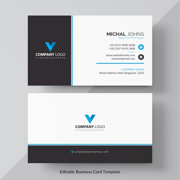 Plantilla de tarjeta corporativa azul vector gratuito