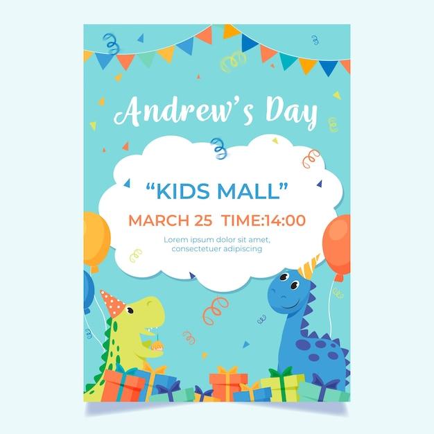 Plantilla de tarjeta de cumpleaños para el día del niño vector gratuito