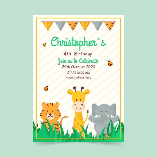 Plantilla de tarjeta de cumpleaños para niños con animales vector gratuito