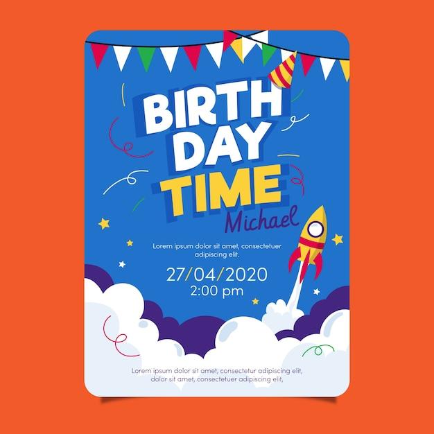 Plantilla de tarjeta de cumpleaños para niños con cohete vector gratuito