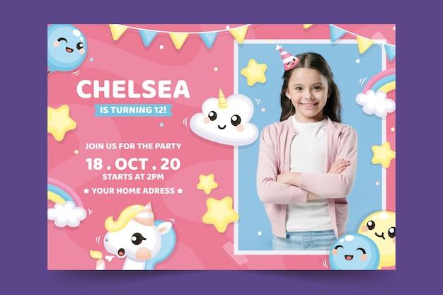 Plantilla de tarjeta de cumpleaños para niños con foto Vector Premium