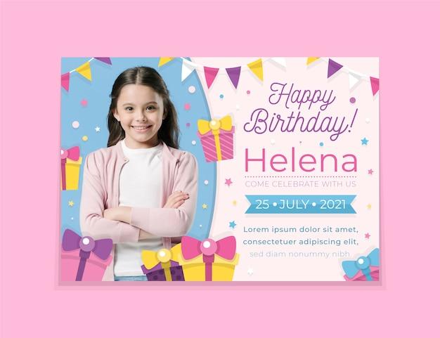 Plantilla de tarjeta de cumpleaños para niños con foto vector gratuito