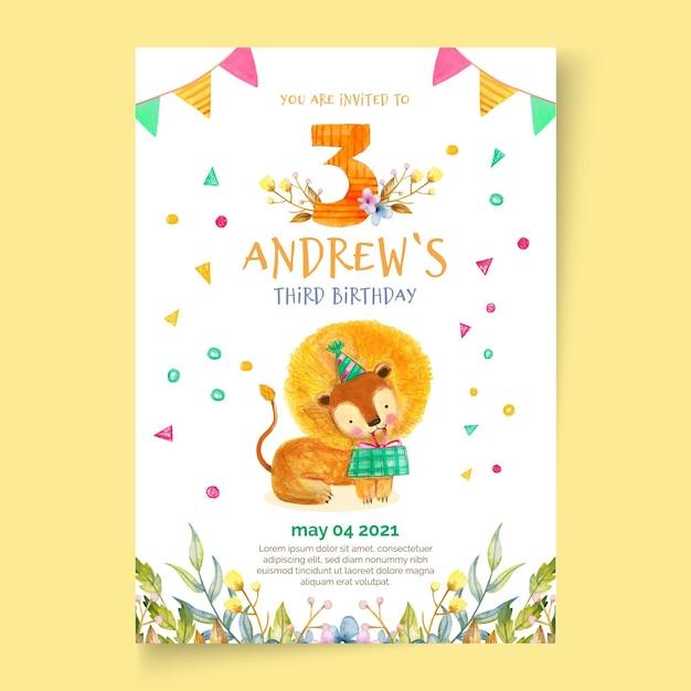 Plantilla de tarjeta de cumpleaños para niños vector gratuito