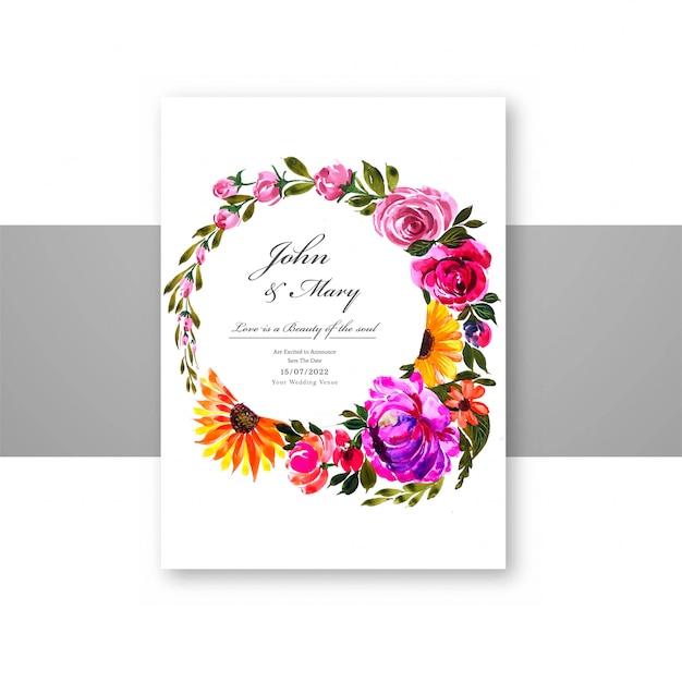 Plantilla de tarjeta decorativa de flores hermosas vector gratuito