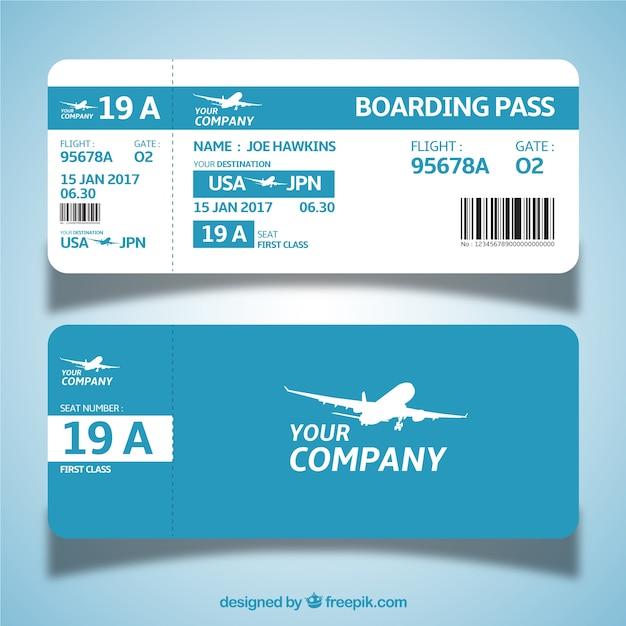 Plantilla de tarjeta de embarque azul y blanca en diseño plano vector gratuito