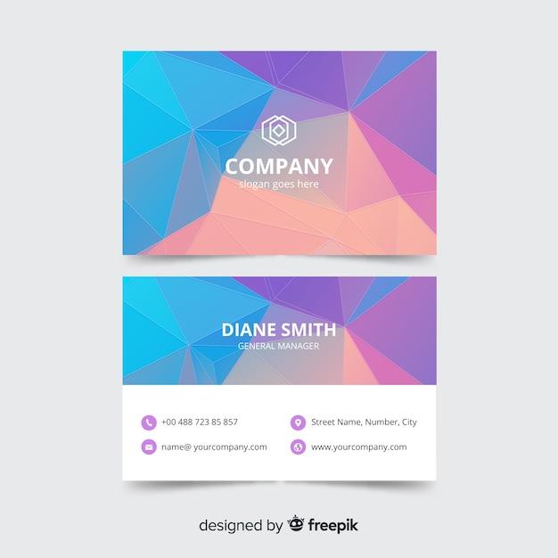 Plantilla de tarjeta de empresa corporativa, diseño frontal y trasero vector gratuito