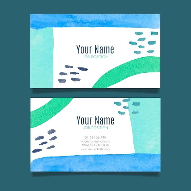 Plantilla de tarjeta de empresa con elementos pintados a mano vector gratuito