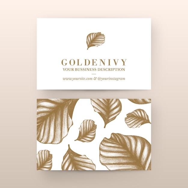 Plantilla de tarjeta de empresa floral dibujada a mano vector gratuito