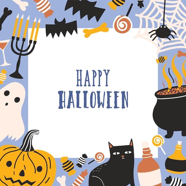 Plantilla de tarjeta de felicitación cuadrada decorada con marco que consta de criaturas espeluznantes, jack-o'-lantern, dulces y deseo de feliz halloween Vector Premium