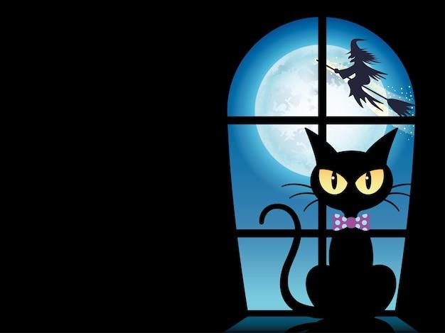 Plantilla de tarjeta de felicitación de feliz halloween con un gato negro junto a la ventana vector gratuito