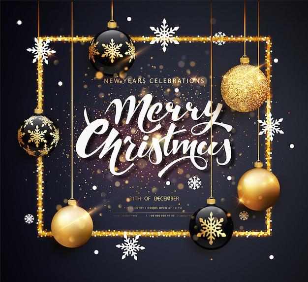 Plantilla de tarjeta de felicitación de feliz navidad Vector Premium