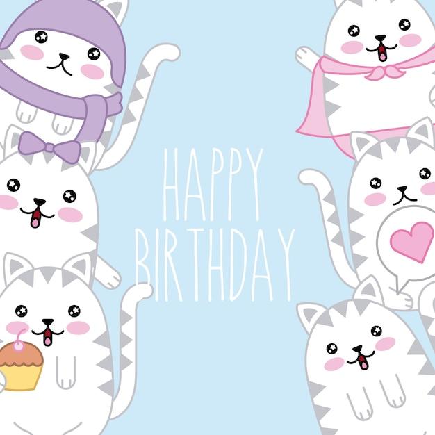 Plantilla De Tarjeta De Feliz Cumpleanos Kawaii Cute Cats