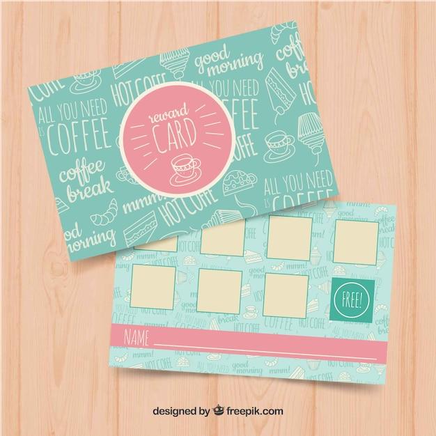 Plantilla de tarjeta de fidelidad con cupones para café vector gratuito