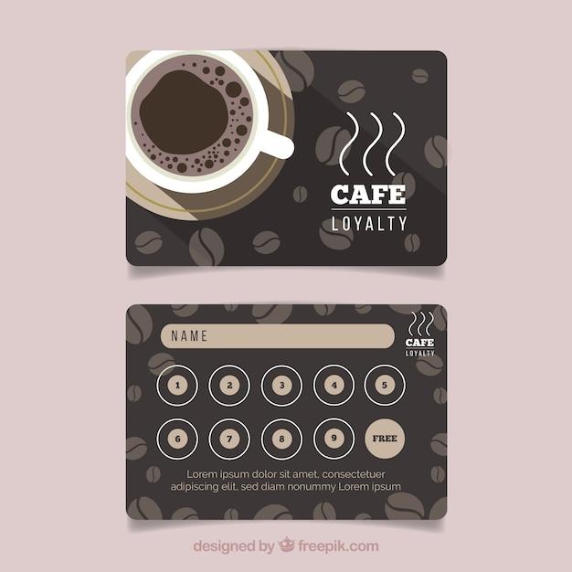 Plantilla de tarjeta de fidelidad con cupones de café vector gratuito